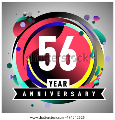 56th years greeting card anniversary with colorful number and frame. logo and icon with circle badge and background