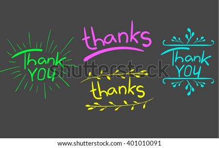 'Thank you' and 'thanks' words isolated on white. Handwritten letters with hand drawn elements. VECTOR. Green, pink, yellow, light blue on gray.  - stock vector