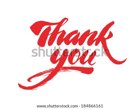 """Thank you"" calligraphic lettering - stock vector"