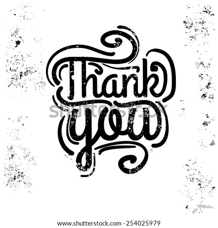 'thank you' hand lettering - handmade calligraphy - stock vector