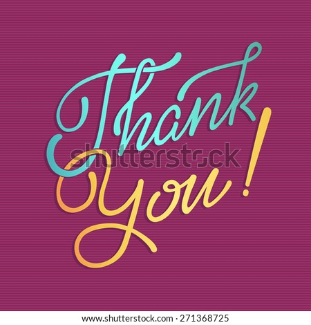 'thank you' hand lettering  THANK YOU hand lettering - handmade calligraphy, vector  - stock vector