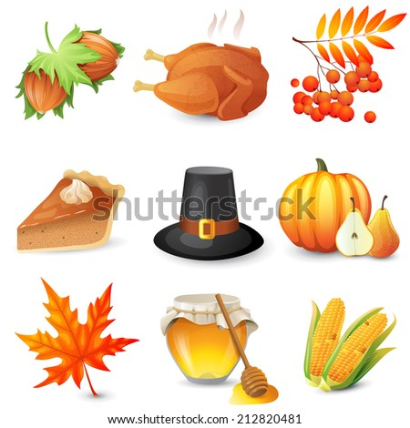 9 thanksgiving icons over white background - stock vector