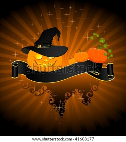 The carved face of pumpkin glowing on Halloween - stock vector