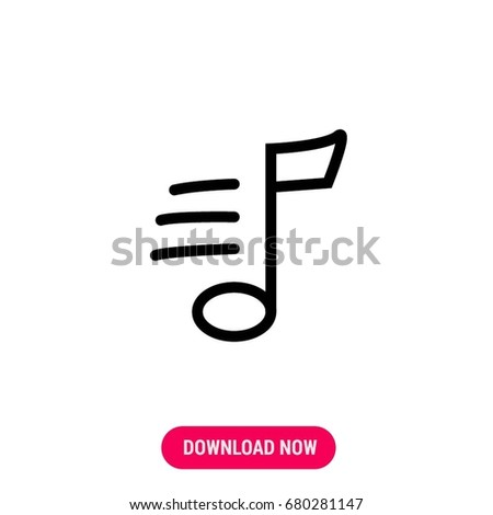 Outlined Symbol Musical Note Simple Modern Stock Vector 2018
