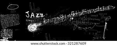 The symbolic image of the comet, which consists of musical notes - stock vector