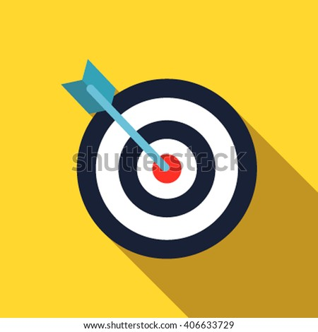 The target web page icon in a flat design with long shadow. Vector illustration - stock vector