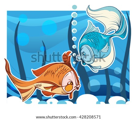 The vector image of two fishes in aquarium - stock vector
