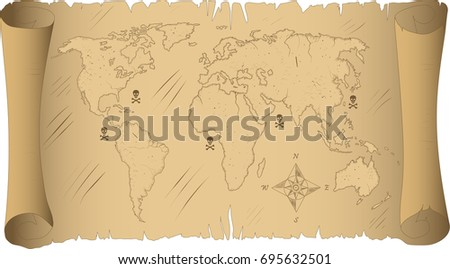 The Vector logo Old map for T-shirt design or outwear. Map style background.