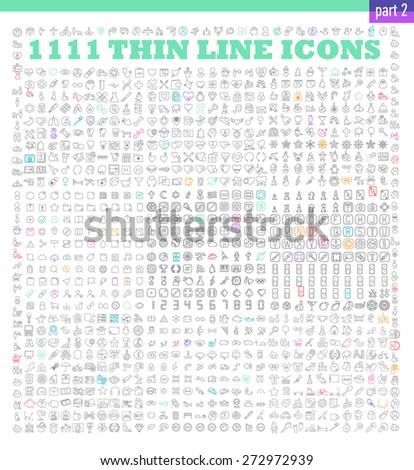 1111 thin line icons exclusive XXL icons set. Universal interface, navigation, people, family, baby, medicine and healthcare, holidays, Christmas, Valentines Day and many other miscellaneous icons - stock vector