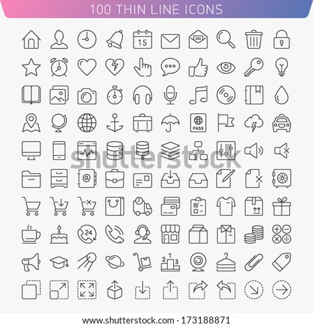 100 thin line icons for Web and Mobile. Light version.