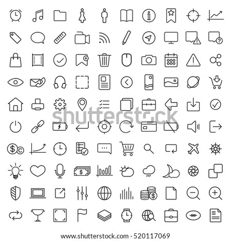 100 thin line universal icons set  of finance, marketing, shopping, weather, internet, user interface, navigation, media on white background