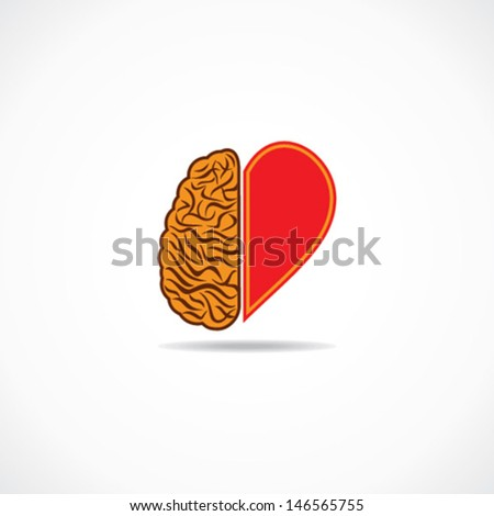 think from heart and brain concept stock vector - stock vector