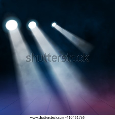 3 three Floodlights spotlights illuminates wooden scene. Vector illustration.