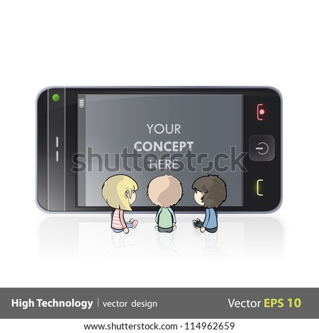 Three kids watching TV y a phone. Isolated vector background design. - stock vector