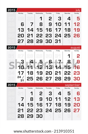 2015 Three-Month Calendar August - stock vector