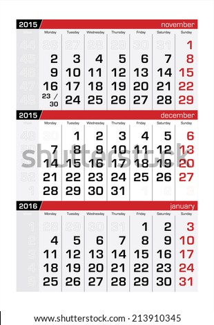 2015 Three-Month Calendar December - stock vector