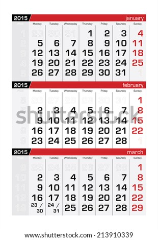 2015 Three-Month Calendar Fabruary - stock vector
