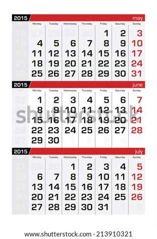 2015 Three-Month Calendar June - stock vector