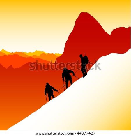 Three silhouetted mountaineers descending a ridge in the French Alps with Mont Blanc in the background - stock vector