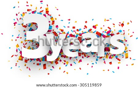 Three years paper sign over confetti. Vector holiday illustration.