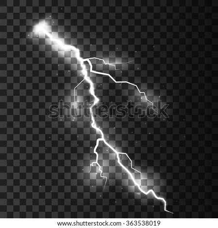 Thunder-storm and lightnings. Magic and bright lighting effects. Vector Illustration - stock vector
