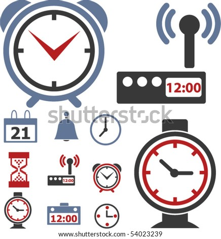 9 time & clock signs. vector - stock vector