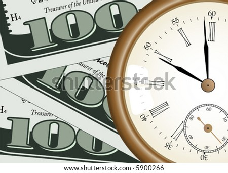 """time - money"" concept - vector illustration - pocket watch on one hundred dollars background - stock vector"
