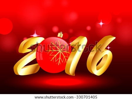 2016 to a brilliant red background with Christmas ball - stock vector