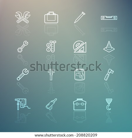 Tools icons on Retina background - stock vector
