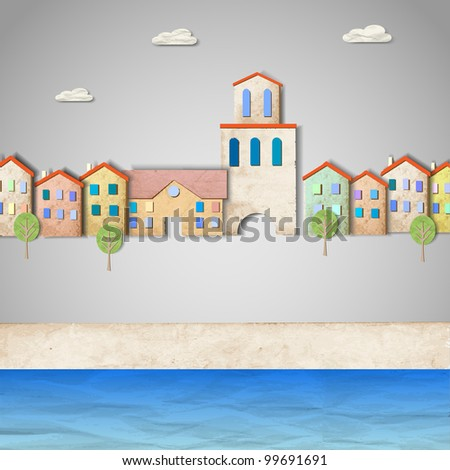 Townscape made from old paper. Creative vector eps10 - stock vector