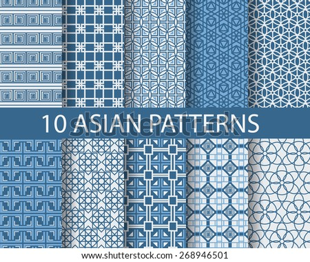 10 traditional patterns, Endless texture can be used for wallpaper, pattern fills, web page background,surface textures. - stock vector