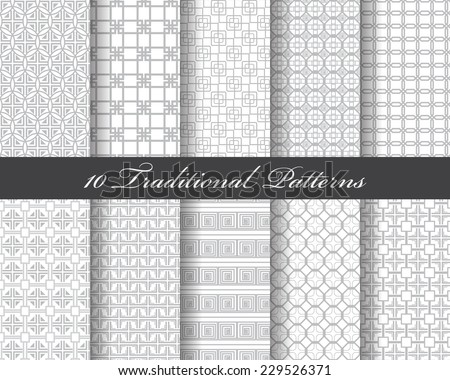 10 traditional seamless patterns, Endless texture can be used for wallpaper, pattern fills, web page background,surface textures. - stock vector