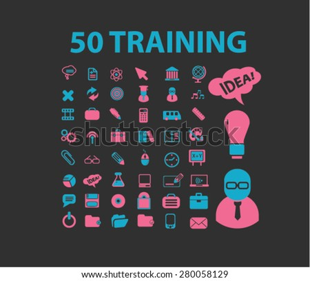 50 training icons set, vector - stock vector