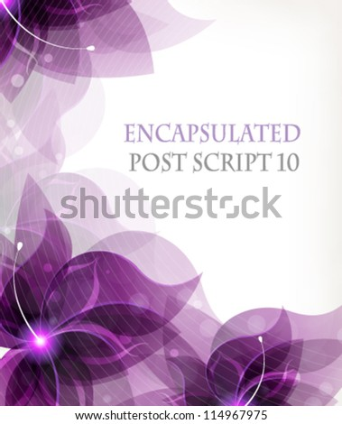 Transparent lilac flowers on a white background with place for text - stock vector