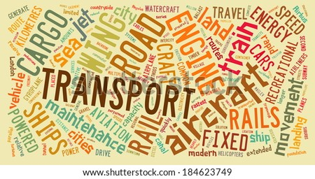 Transport and cargo concept related words in tag cloud
