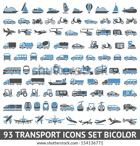 93 Transport icons set bicolor (blue and gray colors), vector illustrations, silhouettes isolated on white background - stock vector