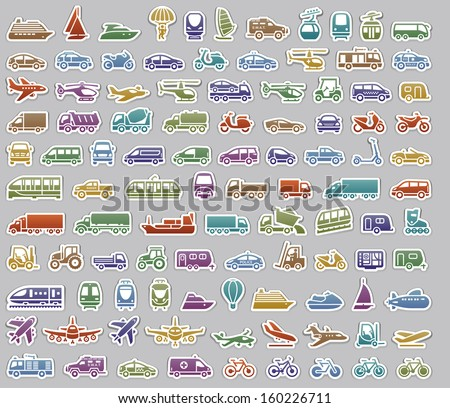 104 Transport icons set retro stickers, vector illustrations, color silhouettes isolated on gray background - stock vector