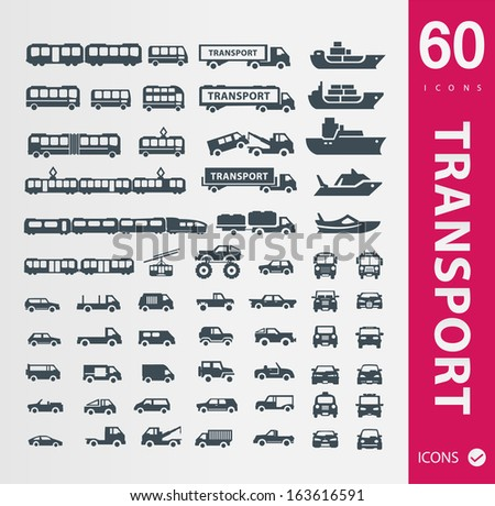 Transportation icons ( Set of 60 Quality icons ) - stock vector