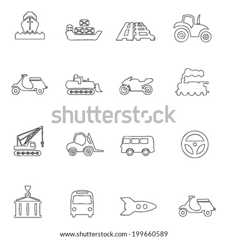 Transportation icons thin line drawing by hand Set 7  - stock vector