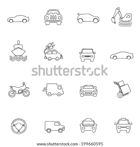 Transportation icons thin line drawing by hand Set 4  - stock vector