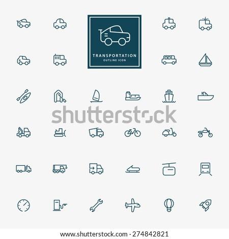 32 transportation minimal line icons vector - stock vector