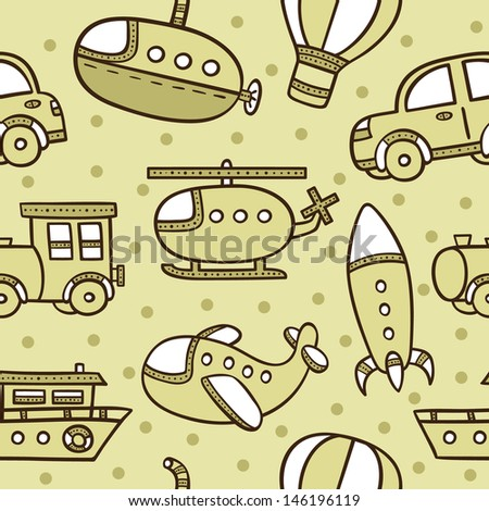 transportation pattern .  seamless baby boy pattern with transportation - stock vector