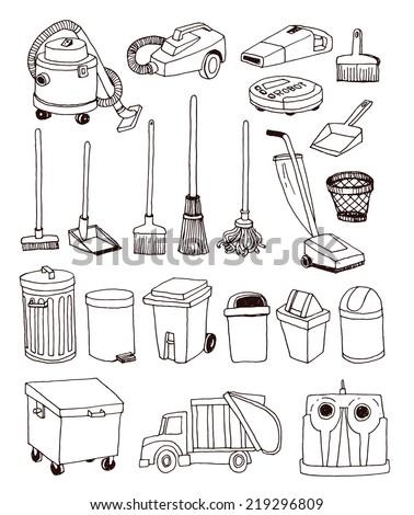 trash icons set, vector illustration - stock vector