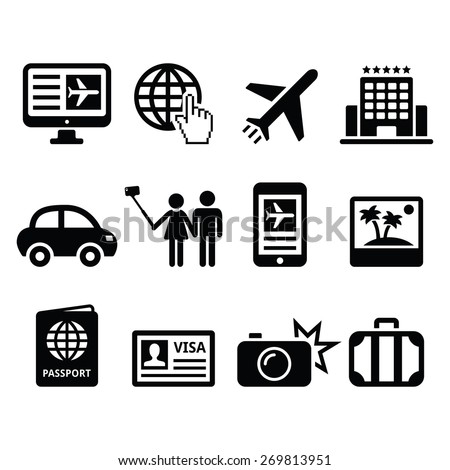 Travel and tourism, booking holidays icons set - stock vector