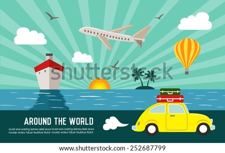 Travel and vacation background - stock vector