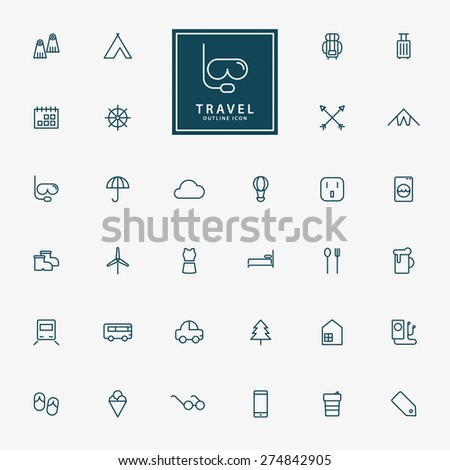 32 travel and vacation minimal line icons vector