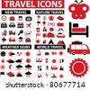 100 travel icons set, vector - stock photo