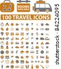 100 travel icons, signs, vector iilustration - stock vector
