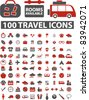 100 travel icons, signs, vector illustration - stock photo