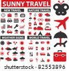 100 travel icons, signs, vector illustrations - stock vector